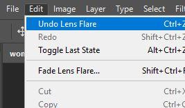 undo lens flare photoshop