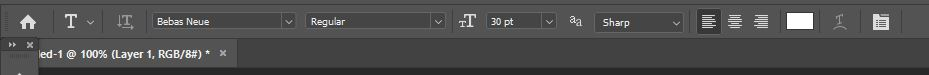 text toolbar photoshop