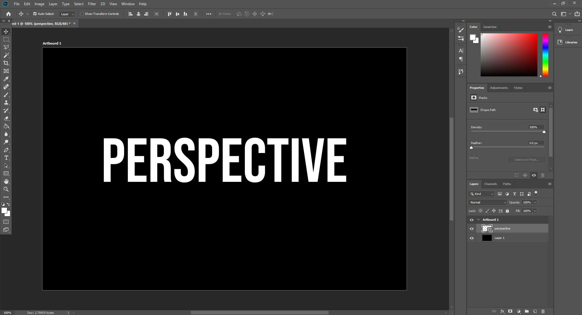 perspective text open in photoshop