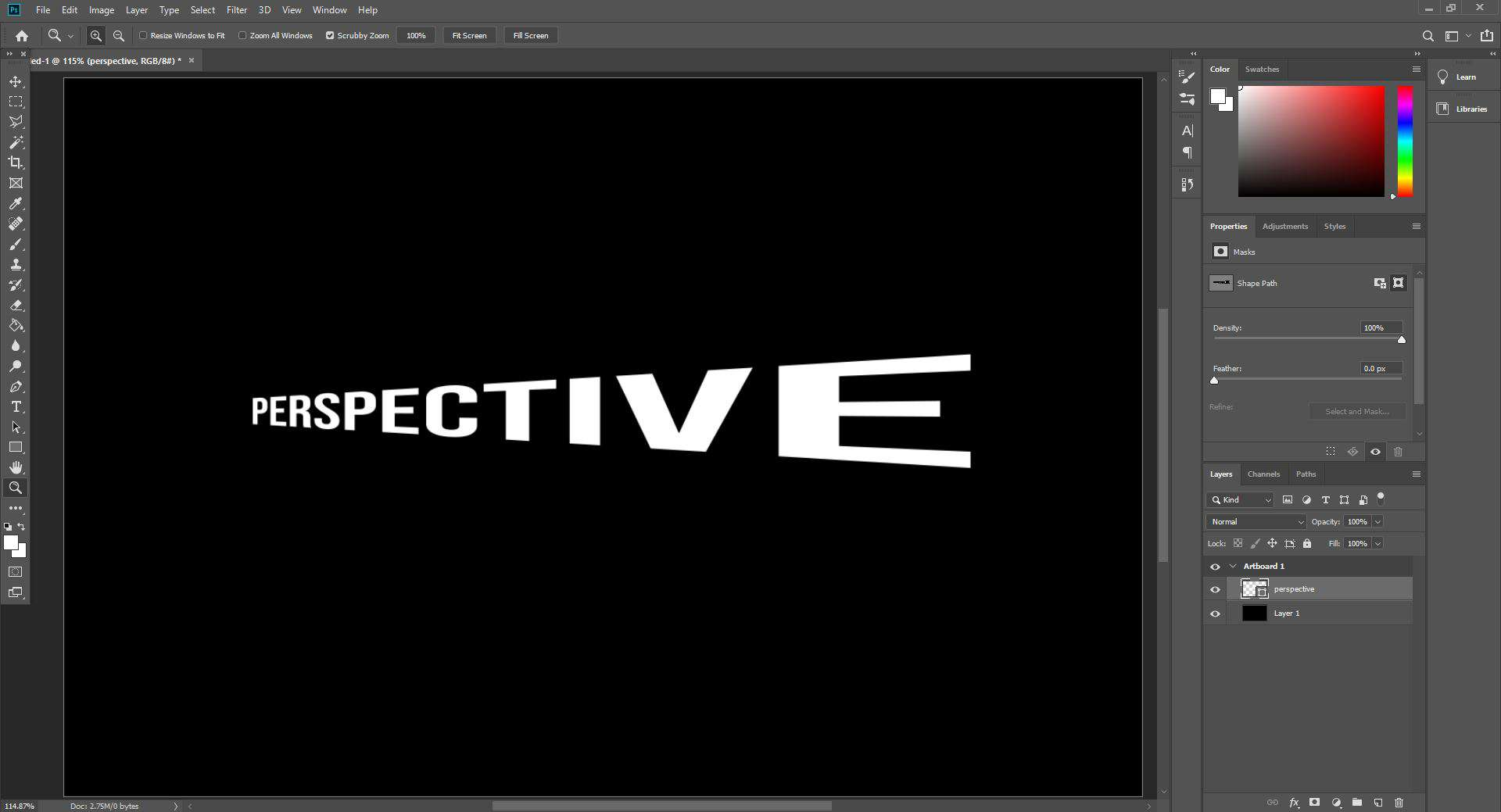 perspective warped text open in photoshop