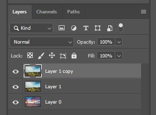 duplicated layer in photoshop