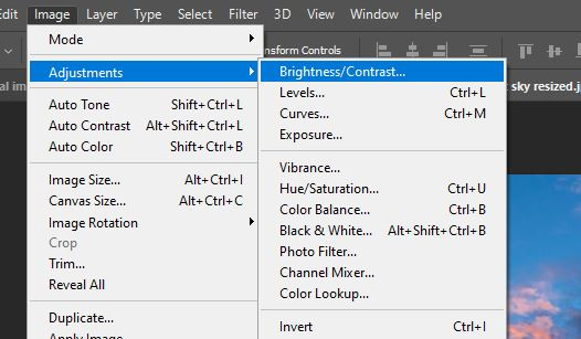 brightness contrast adjustments layer photoshop