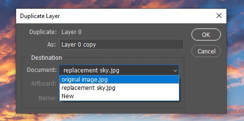 duplicate layer to another document photoshop