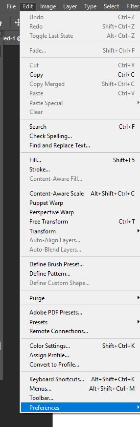 edit preferences in photoshop