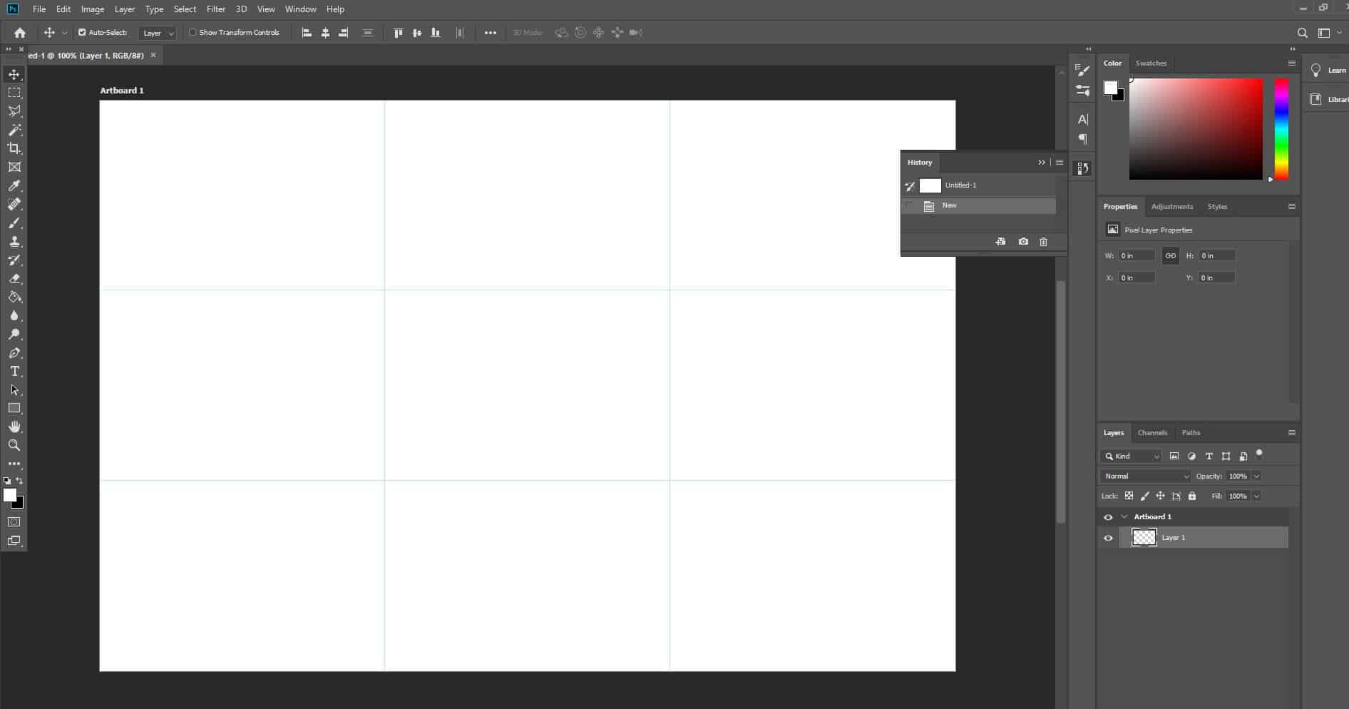 photoshop blank document with rule-of-third grid