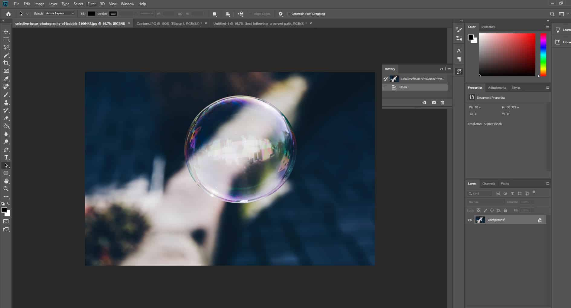 bubble picture open in photoshop