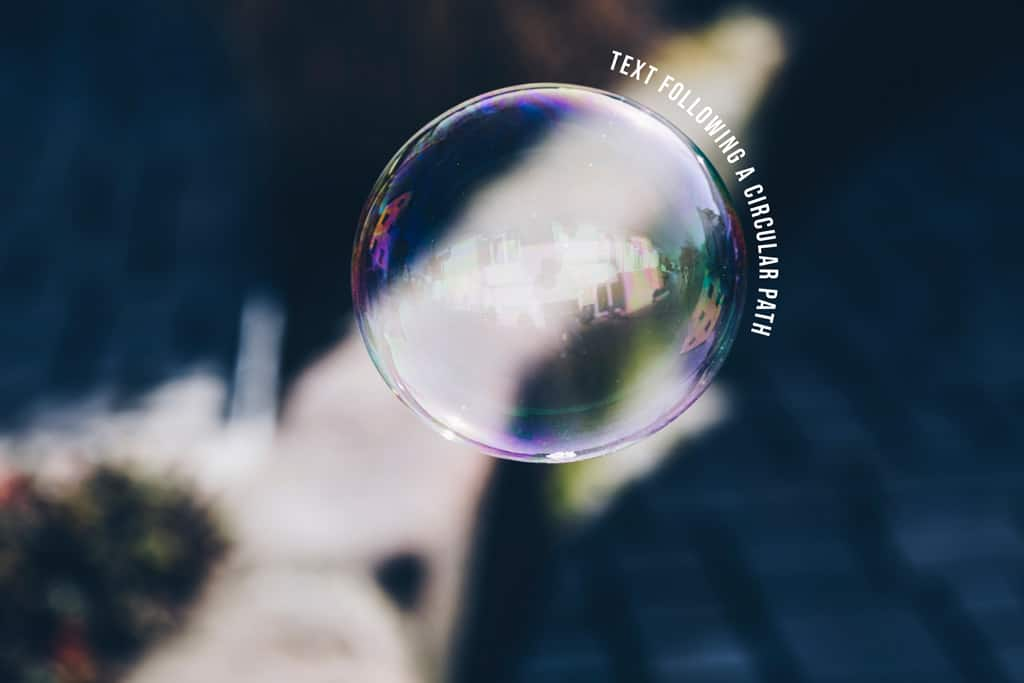 bubble picture with curved text in photoshop
