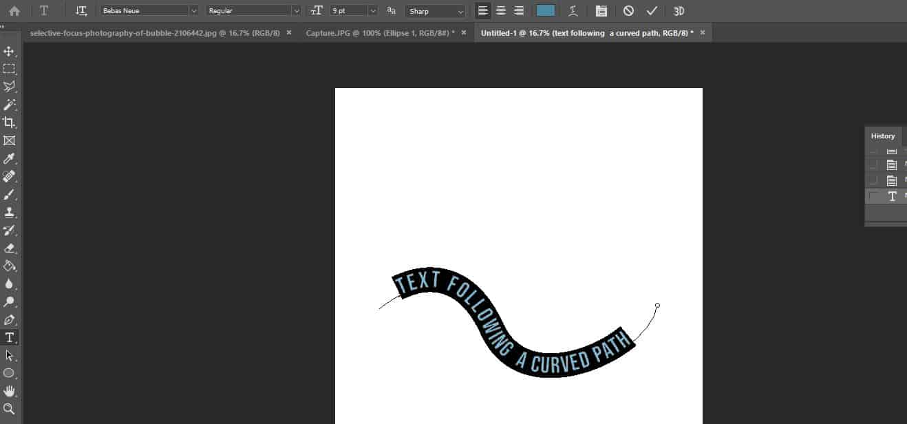 edit curved text photoshop