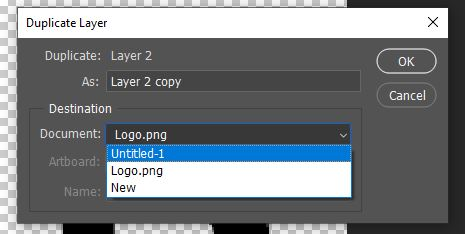 duplicate layer panel option photoshop