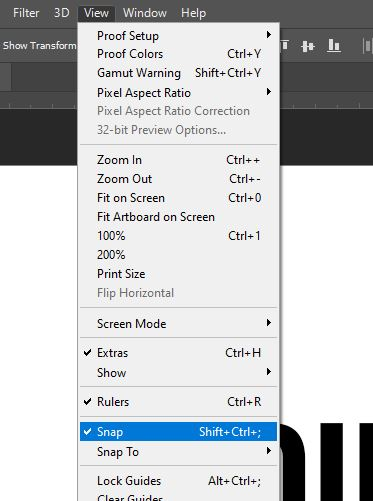 snap view option photoshop